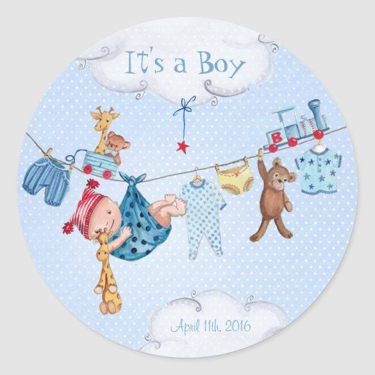 Baby clothesline baby shower boy circle sticker zazzle for Baby clothesline decoration baby shower