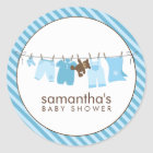 Baby Clothesline {blue} Classic Round Sticker