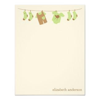 Baby Clothesline Custom Flat Thank You Notes 11 Cm X 14 Cm Invitation Card