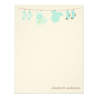 Baby Clothesline Custom Flat Thank You Notes Invite