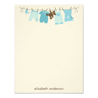 Baby Clothesline Flat Thank You Notes {blue} 11 Cm X 14 Cm Invitation Card