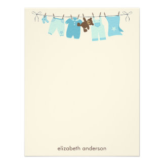 Baby Clothesline Flat Thank You Notes blue Personalized Announcements