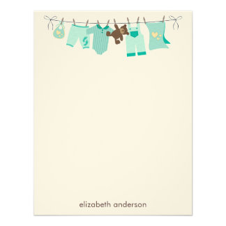 Baby Clothesline Flat Thank You Notes green Personalized Invitations