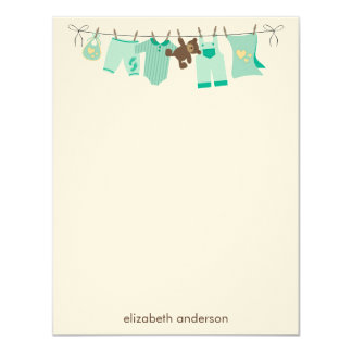Baby Clothesline Flat Thank You Notes {green} 11 Cm X 14 Cm Invitation Card