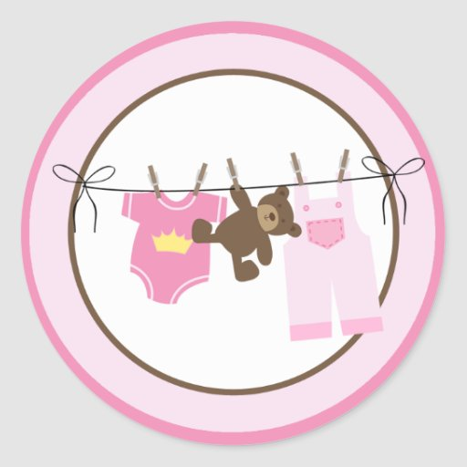 Baby Clothesline (Pink) Envelope Seals Stickers
