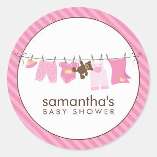 Baby Clothesline pink Round Sticker
