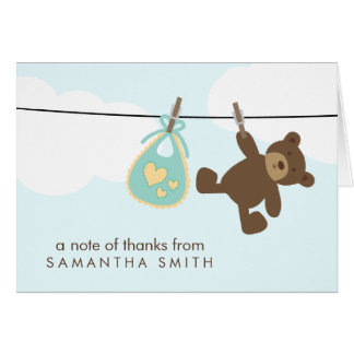 Baby Clothesline Thank You Notes {green} Card