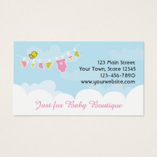 Baby Clothing on Line, Blue Sky, White Clouds Business Card