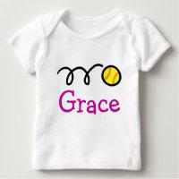 Baby clothing with custom name and softball print