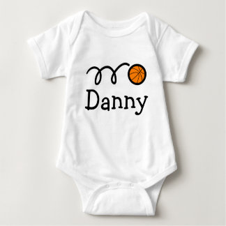 Baby clothing with name and basketball print baby bodysuit