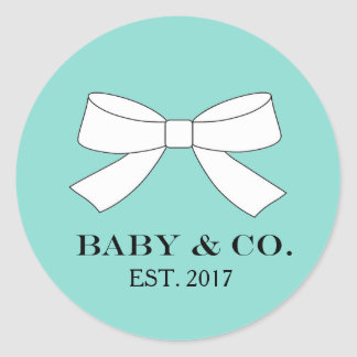 BABY & Co Blue And White Bow Party Stickers