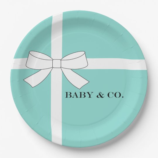 BABY & CO Blue and White Party Paper Plates 9 Inch Paper Plate