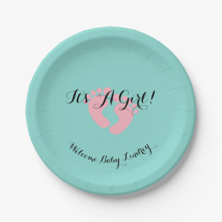 BABY & CO Pink And Blue It's A Girl Party Plates
