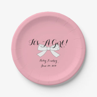 BABY & CO Pink It's A Girl Shower Party Plates