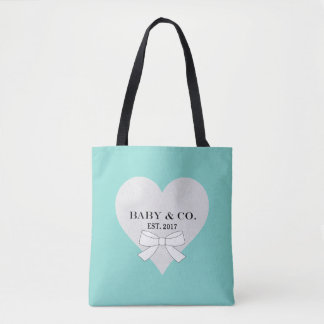 BABY & CO. Teal Blue Baby Heart Tote Bag