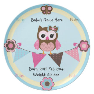 Baby Commemorative Plate  With Owl