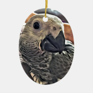 Baby Congo African Grey Parrot Ceramic Oval Decoration