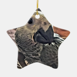 Baby Congo African Grey Parrot Ceramic Star Decoration