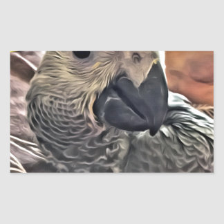 Baby Congo African Grey Parrot Rectangular Sticker