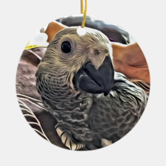Baby Congo African Grey Parrot Round Ceramic Decoration