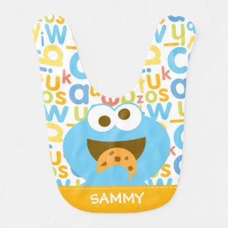 Baby Cookie Monster Eating | Add Your Name Baby Bibs