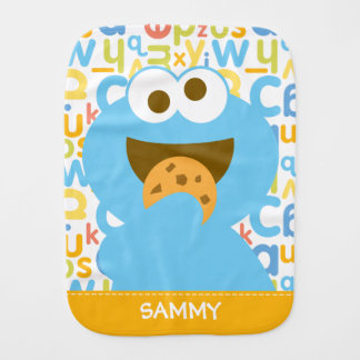 Baby Cookie Monster Eating | Add Your Name Burp Cloth