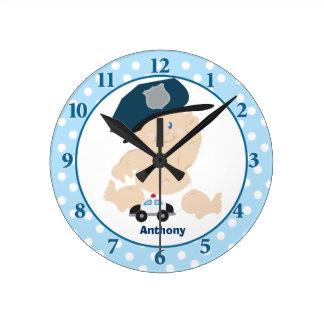 Baby Cop Blue Boy Nursery Wall Clock