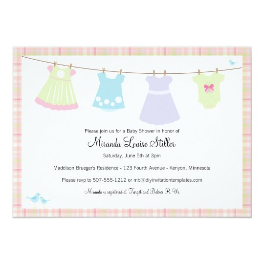 Baby Cothesline (Girl) Shower Invitation