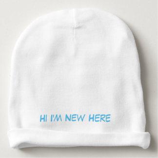 """Baby cotton beanie """"HI IM NEW HERE"""" Baby Beanie"""