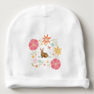 Baby Cotton Beanie with flowers and brown bunny Baby Beanie