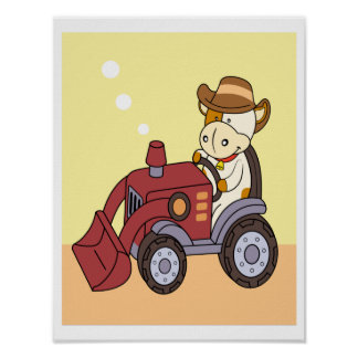 Baby Cow driving a tractor Poster