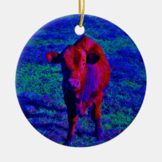 Baby Cow Purple grass Christmas Tree Ornament