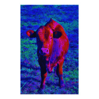 Baby Cow Purple grass Stationery Design
