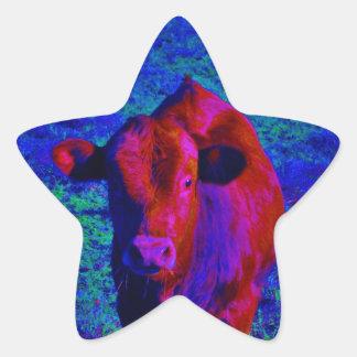 Baby Cow Purple grass Stickers