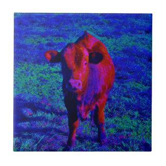 Baby Cow Purple grass Ceramic Tile