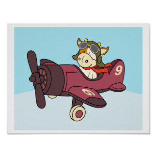 Baby cow riding a airplane Poster