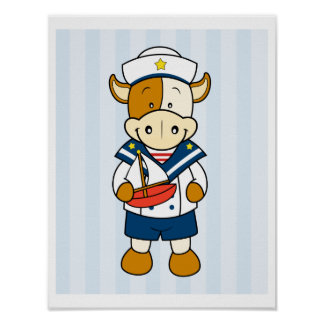 Baby Cow Sailor Poster