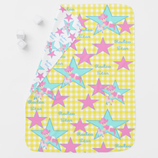 Baby Cowgirl Rodeo Star Yellow Check Baby Blanket
