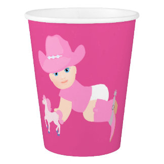 Baby Cowgirl With Pink Hat And Boots Party Cups