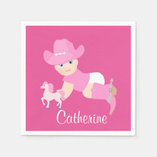 Baby Cowgirl With Pink Hat And Boots Party Disposable Serviettes