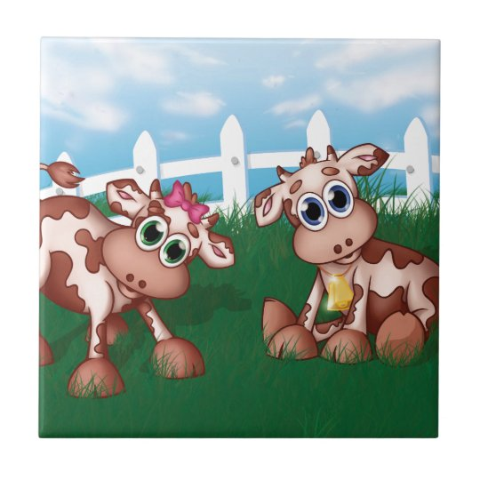 Baby Cows on a Hill Side With White Fence in Back Small Square Tile