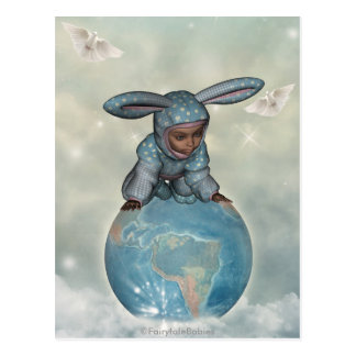Baby crawl bunnies save the earth 1 post card