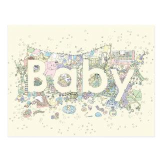 'Baby' creative text novelty art postcard