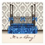 Baby Crib Blue Brown Damask Baby Boy Shower Personalized Invitation