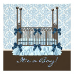 Baby Crib Blue Brown Damask Baby Boy Shower Custom Invitation