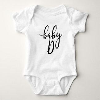 Baby D Black Handwritten Script Baby Bodysuit