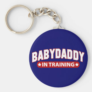 Baby Daddy In Training Basic Round Button Key Ring