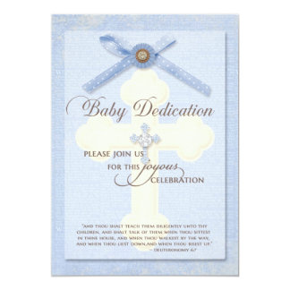 "Baby Dedication Invitation - Blue w/ cross & ribbo 5"" X 7"" Invitation Card"