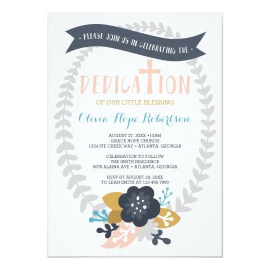 Baby Dedication Invitation, Floral, Contemporary Card