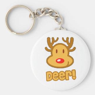 Baby Deer Cartoon Basic Round Button Key Ring